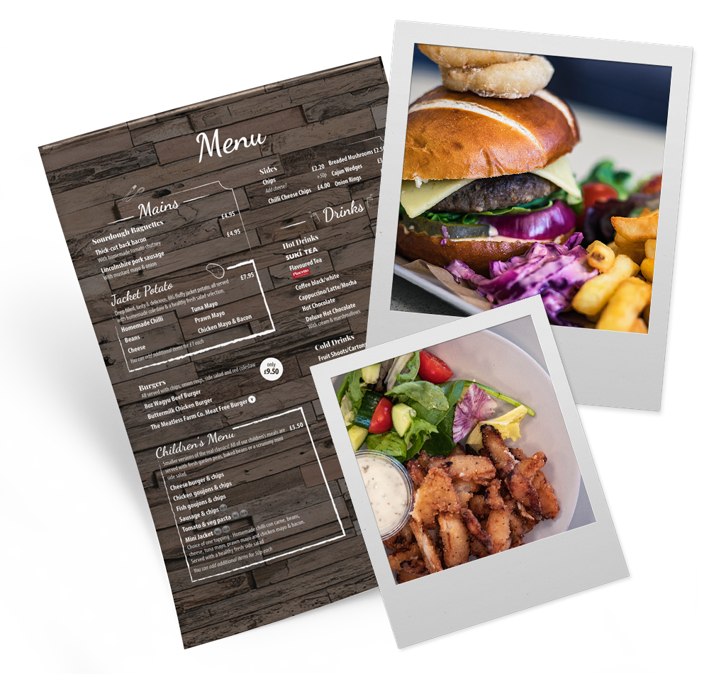 Our Main Menu with photos of a burger andd onion straws