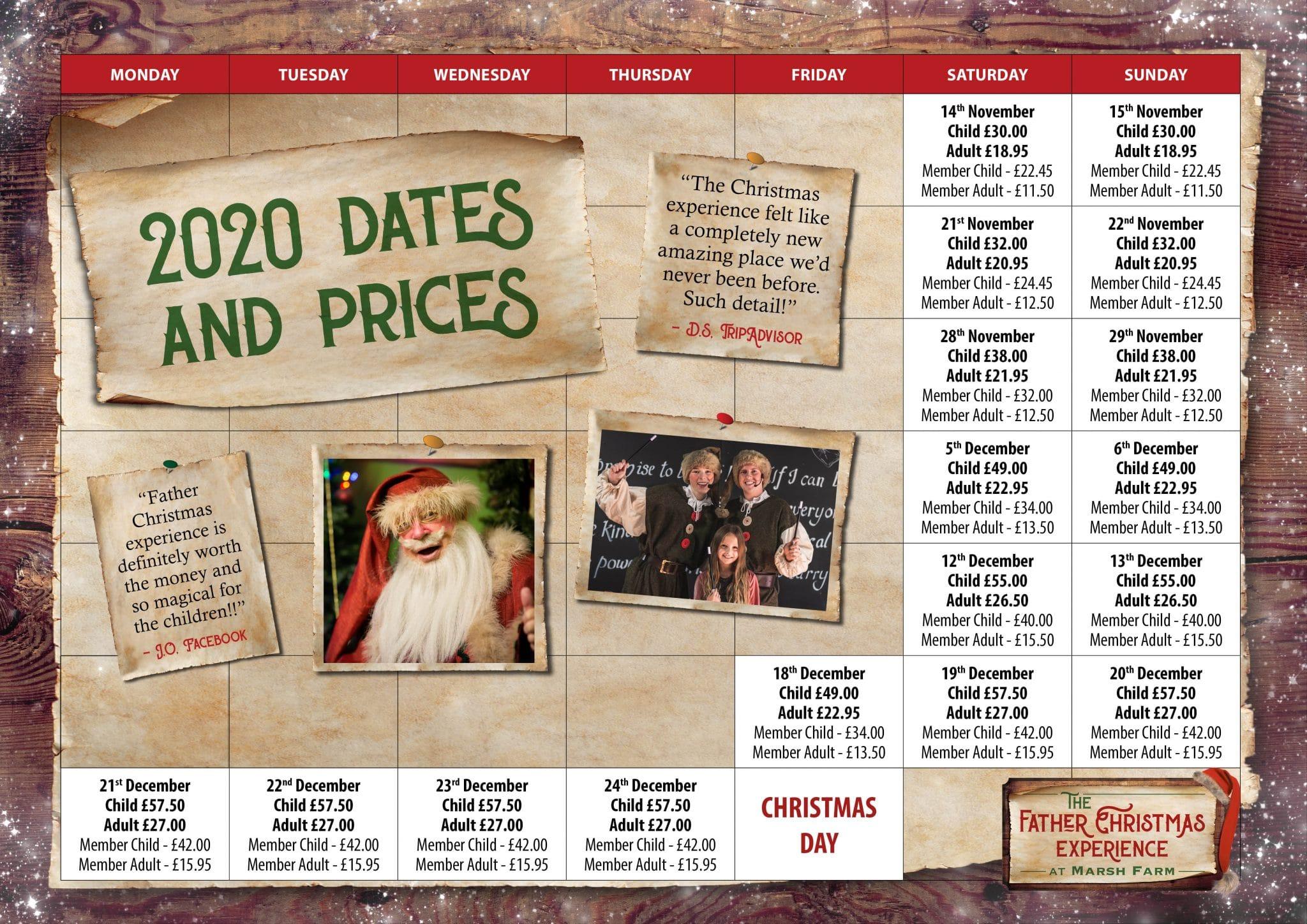 2020 calendar of prices