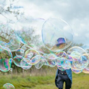 Close up of giant bubbles