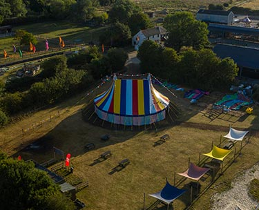 Aerial photograph of a big top