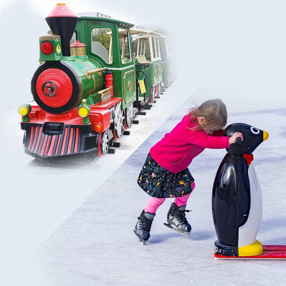 Ice skating and train ride